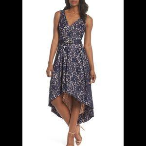Eliza J Black Lace Belted High Low Dress